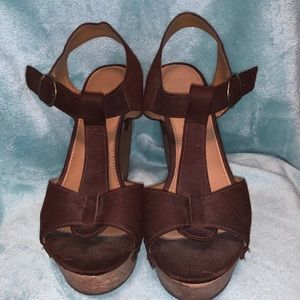 Cato Shoes - Cato Chocolate Faux Suede Wedges
